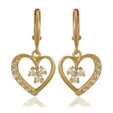 Korean Gifts CZ Womens Heart Long Dangle Earrings Earings Yellow Gold Filled