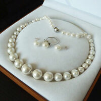 Genuine 8-16mm South Sea White Shell Pearl Necklace Ring Earring Jewelry Set AAA