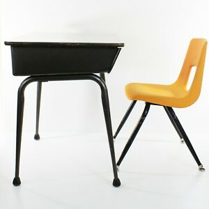 Vintage Metal Child's student School Desk Elementary Formica top w/Chair