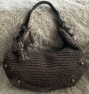 ISABELLA FIORE LARGE LEATHER WOVEN WHIPSTITCH TOTE SHOULDER Bag TASSELED