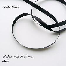 2 mètres de ruban satin largeur de 10 mm (1 cm)  Couleur : Noire