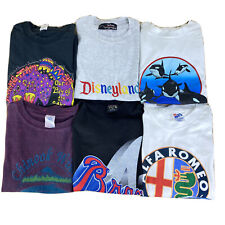 Graphic T Shirt Lot of 6 Vintage 90s Tees Mens XL Disney Hanes Fifty Fifty USA