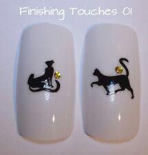 Etiqueta engomada de Arte de Uñas - 3D Gato Etiqueta #43 TH025 Oro Negro Animal de transferencia de corazón