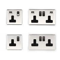 Area 1 - 2 Gang USB Wall Socket/ Plug Brushed Chrome Finish Screwless