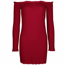 Damen Mini Kleid Schulterfrei Pullover Abendkleid Longshirt Bluse NEU