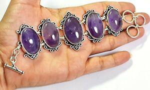 Natural Purple Amethyst Gemstone Handmade Fashion Jewelry Silver Bracelet B-629