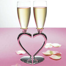 Silver Plated Interlocking Heart Stems Wedding Toasting Flutes