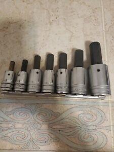 Snap on 7pc standard hex bit socket set. 5/16- 3/4 . 1/2 dr