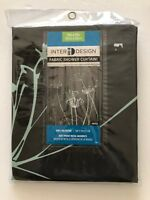 Thistle 72 in. x 72 in. Shower Curtain in Gray Mint Green Floral Fabric NEW