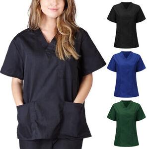 Women V-neck Nursing Uniform Scrub Short Sleeve with Pocket Blouse Salon Tops
