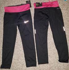 Nike Women's Dri-FIT Power Essential Running Capris 831657-010 Black Pink XS