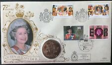 Queens 70th Birthday IOM/Guernsey/UK 1996 Flown FDC With £5 UK Coin