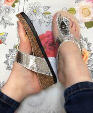 Silver Sandals Size 7 T Bar Wedge Toe Post Metallic Flip Flop Snakeskin