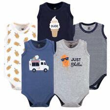 Hudson Baby Boy Sleeveless Bodysuits, 5-Pack, Ice Cream Truck