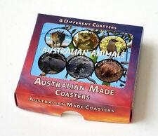 AUSTRALIAN ANIMALS SOUVENIR HARDBOARD DRINK COASTER SET 6 per set