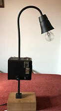 Vintage Kodak Box Camera Lamp Conversion UK Plug Wooden Base, 52cm Tall 42w Bulb