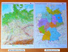 Wandkarte Deutschland physisch politisch Plakat Poster BRD Landkarte Bundeslände