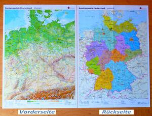 Wandkarte Deutschland physisch politisch Plakat Poster BRD Bundesländer Geo . DE