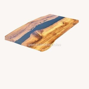 Black Resin River Dining Custom Table Top Wooden Handmade Collectible Furniture