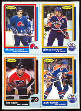 1986-87 O-PEE-CHEE OPC WAYNE GRETZKY JARI KURRI  BOX BOTTOM 4 CARD UNCUT PANEL