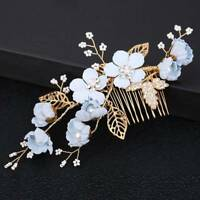 Bridal Wedding Jewelry Pearl Flower Crystal Hair Pins Comb Side Bobby Pin Clips