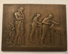 1893 French Bronze Art Nouveau Plaquette by A. Lechevrel Reform School Teacher