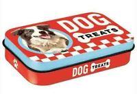 Retro Embossed Small Pet Treat Tin Box DOG TREATS Red 6 x 9 x 2cm Nostalgic Art