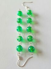 New Handmade Long Green Acrylic Iridescent Round Beaded Dangle Drop Earrings