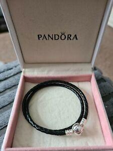 Genuine S925 Ale Double Black Leather Pandora Moments Bracelet 19cm 38CM