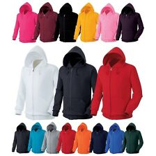 Plain Heavy Cotton Blend Full Zip Hooded Sweatshirt Size S-XXL Hoodie Jumper Top
