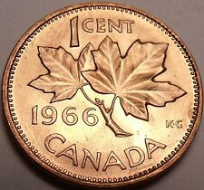 Gem Brilliant Unc Canada 1966 Maple Leaf Cent~Free Shipping