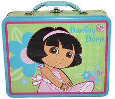 Dora The Explorer Darling Dora Metal Tin Box Lunch Bag Snack Jewelry Case NEW