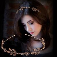 Retro Women Rose Leaf Shiny Rhinestone Headband Hairband  Metal Hair Hoop  t