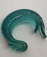 Rare Vtg Chanel Collectible MASSIVE Blue Green Lucite Koi Fish Bracelet Cuff