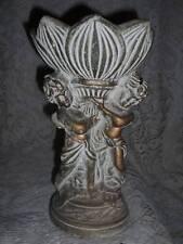 Antique Tall Ornate Gilt Bronzed ChalkWare Pedestal Cherub Compote Vanity Dish