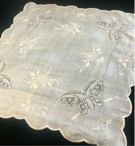 EXQUISITE ANTIQUE EMBROIDERED LACE TABLE MAT / HANDKERCHIEF/ HANKY - BUTTERFLIES