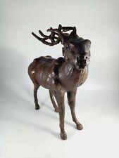 More details for vinatge leather clad elk or reindeer or stag - no damage - super decorative