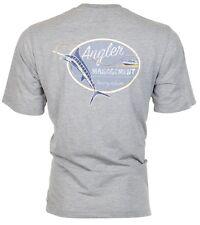 TOMMY BAHAMA Mens T-Shirt ANGLER MANAGEMENT Fish Fishing HTHR GREY Camp $45 NWT