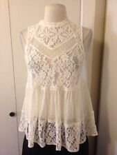 Free People Beautiful Sheer Boho White Lace Top With High Neckline, Size Small