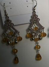 """Silver Plated Pierced Chandelier Earrings 3 1/2"""" in 9 Colors"""