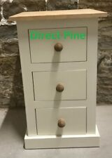 PINE FURNITURE EDWARDIAN RANGE 3 DRAWER BEDSIDE CREAM/ANTIQUE PINE TOP & KNOBS