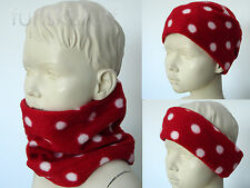 Infant RED FLEECE scarf NECK WARMER ladybird BLACK SPOT toddler ski baby girl
