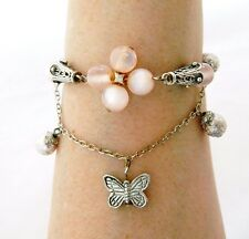 Butterfly Charm Bracelet Moonglow Beads Pink Delicate Summer Spring Jewelry