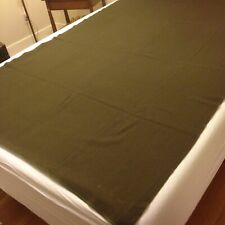 "#2 Vintage Khaki Green Wool Military Army Blanket with name in 4 corners 56""x80"""