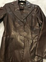 Womens Vintage Beged Or Brown LeatherJacket Made in Argentina