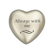 Always With Me Silver Coloured Heart Urn Keepsake for Ashes Cremation