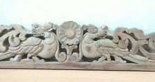 Antique Hand Carved Dragon Wall Hanging Wooden Panel Yalli Vintage Estate decor