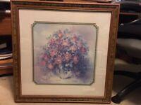 """Home Interiors * Flowers in Vase * Picture Julia Crainer 27.5"""" X 27.5"""""""