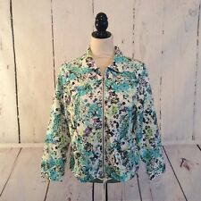 Christopher and Banks Women's Jacket Size Petite Medium Cotton Blend Zip Front
