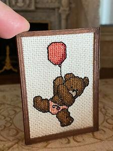 Vintage Miniature Dollhouse 1:12 Signed Needlepoint Framed Nursery Art Baby Bear